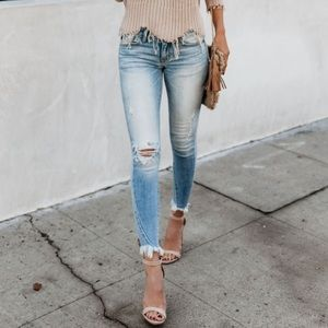 KanCan Frayed Ankle Skinny Denim Jeans